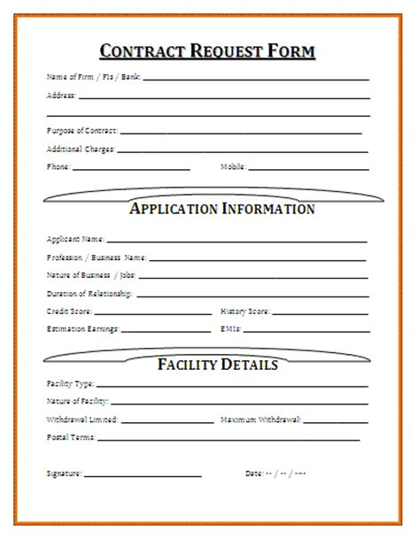 contract request form template contract forms free printable documents