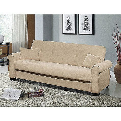 Meridian Microfiber Convertible Sofa With Storage Ivory