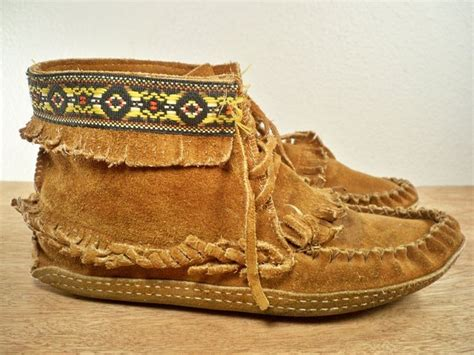 Handmade Moccasins - vintage handmade leather mens indian moccasin forest