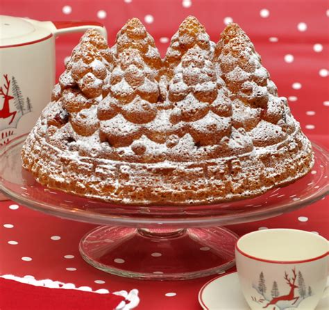 simple recipe for nordic ware christmas holiday tree bundt pan fir tree bundt cake from the sweet kitchen