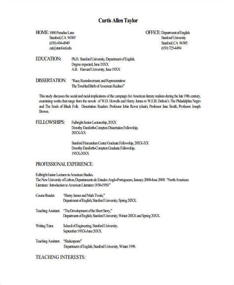 resume format for lecturer fresher lecturer resume templates 5 free word pdf