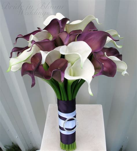 Wedding Bouquet With Calla Lilies by Calla Wedding Bouquet Plum White Real Touch Wedding