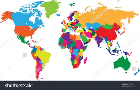 colors of the world colored map world countries borders stock vector 35866771