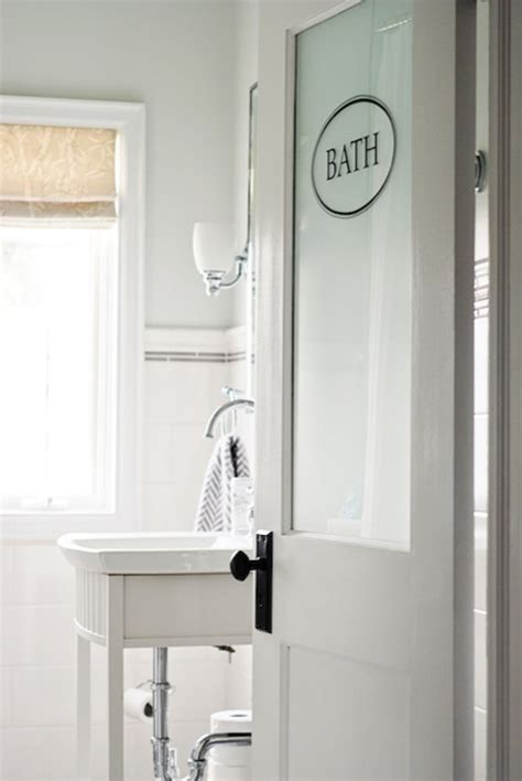 Frosted glass door transitional bathroom restoration hardware pale silver rambling