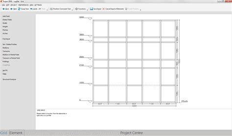 curtain wall dimensions statics module in input of elements
