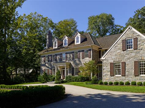 stone colonial house plans bryn mawr stone colonial traditional exterior philadelphia by pinemar inc