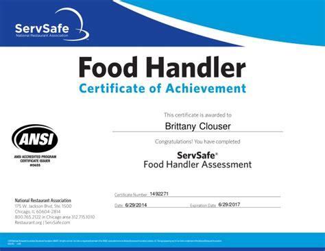 servsafe certificate template food handler certificate
