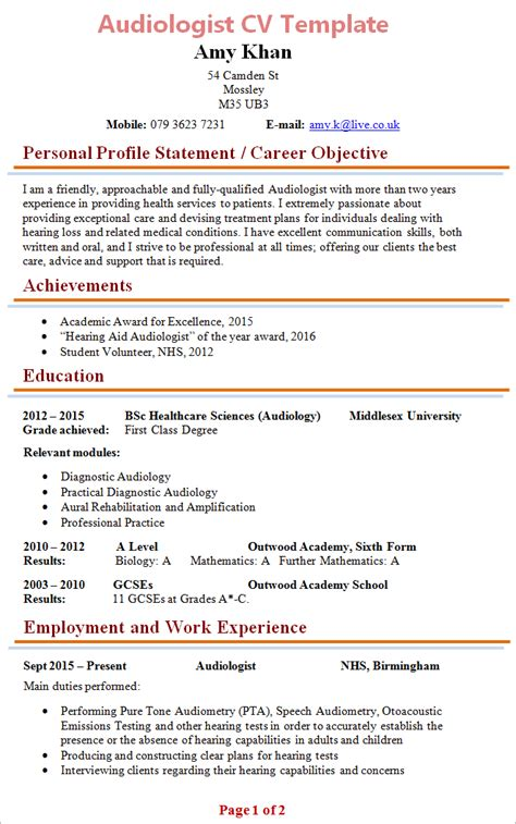 Best Resume Examples Free by Audiologist Cv Template 1