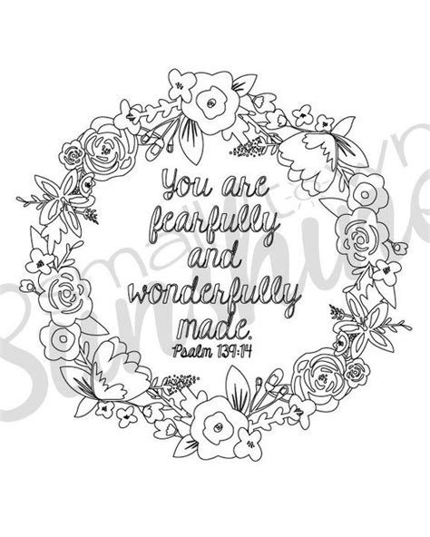 psalm 139 14 printable coloring page paper crafts