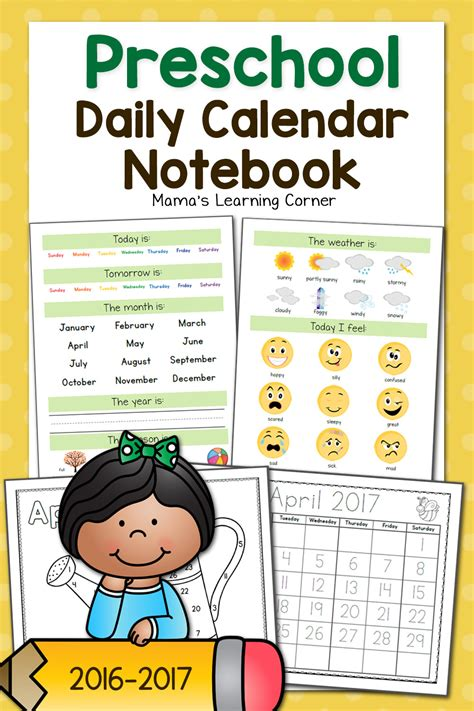 Calendar Notebook Preschool Calendar Notebook Mamas Learning Corner