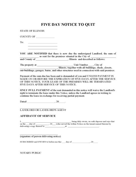 pay or quit notice template 5 day notice to quit illinois free