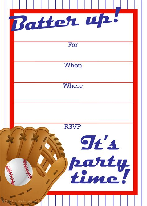 baseball invitation template free printable invitations free baseball birthday