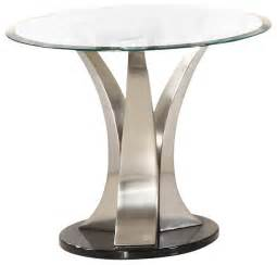 Glass And Chrome Side Table Homelegance Charlaine Glass End Table On Chrome Pillars Traditional Side Tables And