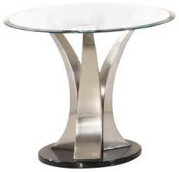 chrome accent tables homelegance charlaine round glass end table on chrome