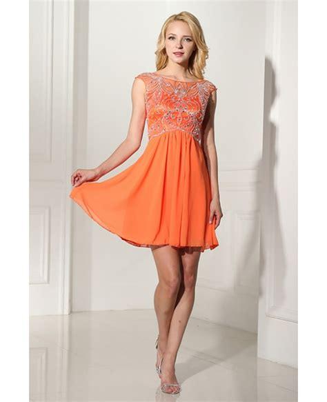 dress with beading modest orange graduation dress with beading bodice