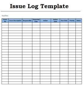 issue log template commonpence co