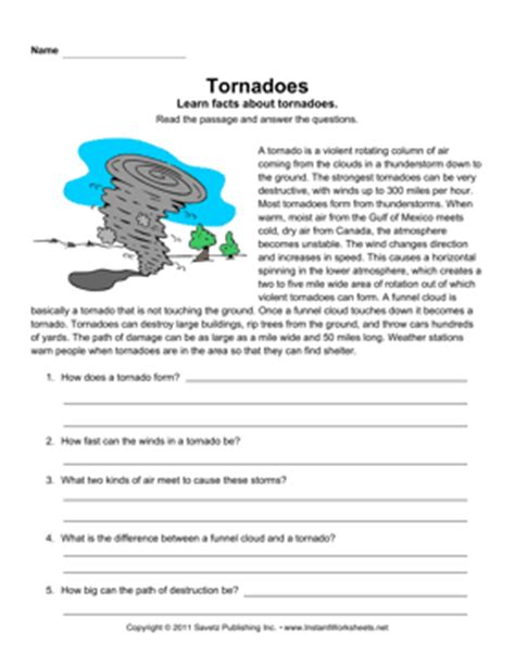 worksheets on tornadoes tornadoes comprehension