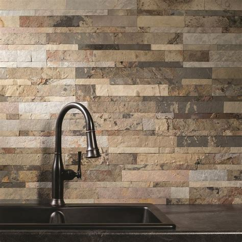 peel and stick kitchen backsplash aspect 6in x 24in medley slate peel and stick stone