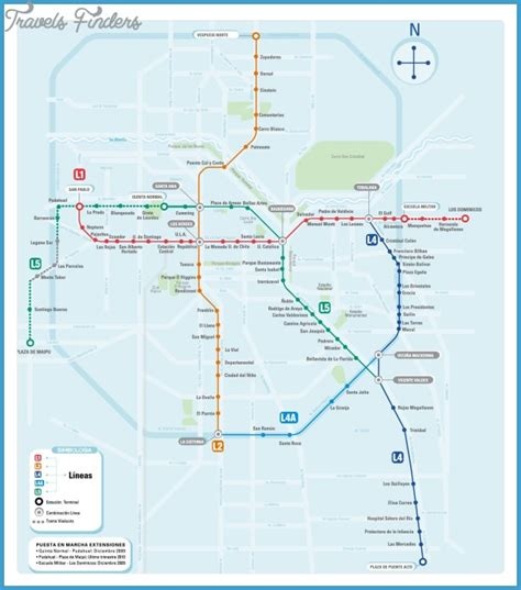 santiago chile map chile subway map travelsfinders