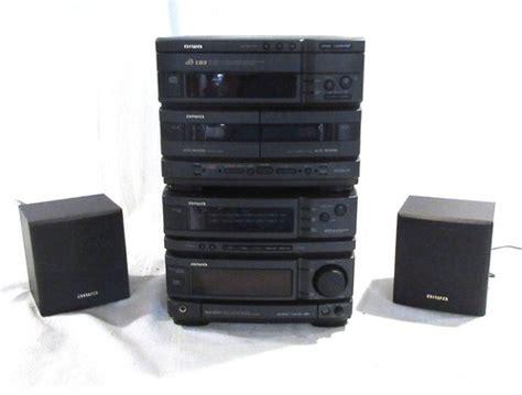 aiwa nsx d707 bookshelf stereo system dual cassette deck
