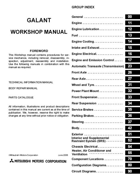 service manual 2007 mitsubishi galant saturn car repair manual mitsubishi galant 2001 2006