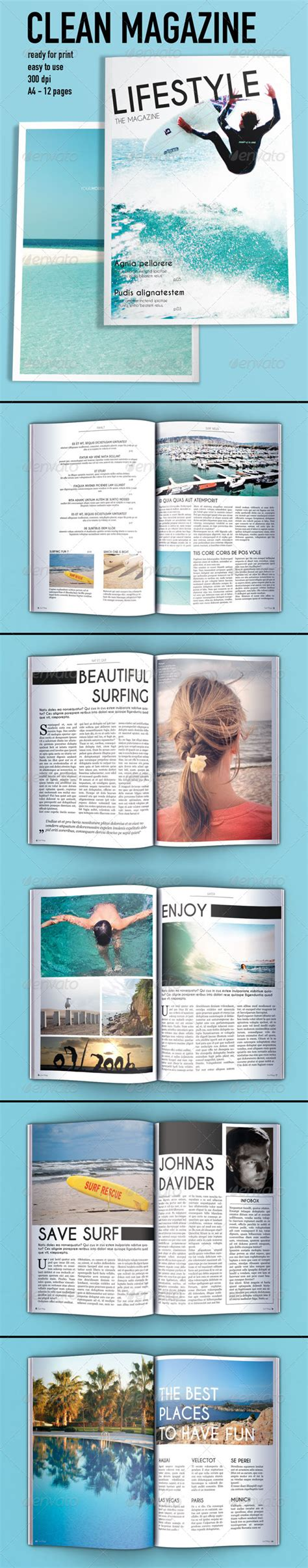 Magazine Layout Template Graphicriver | clean magazine layout template graphicriver