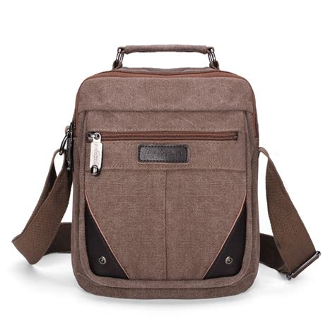 mens canvas small travel shoulder bag crossbody messenger