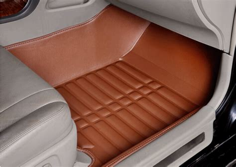 rug store ta aliexpress buy brown coffe pu leather car steering front rear floor mats pad cover