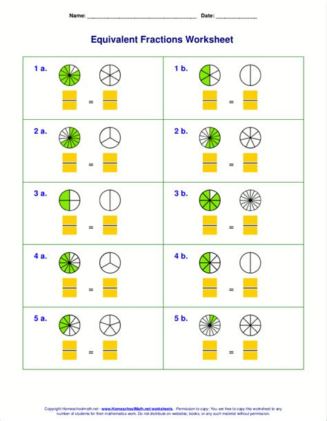 Fractions Worksheets Grade 4 by Free Equivalent Fractions Worksheets With Visual Models