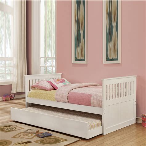classic mission design low profile kids girls white daybed