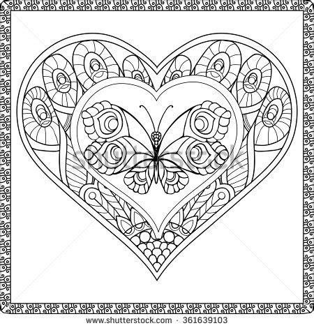 heart butterfly coloring page zebdoodle stock vectors vector clip art shutterstock