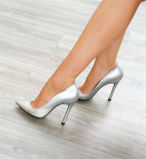 wedding shoes high heels pearl pearlescent silver stilettos pumps silver pumps