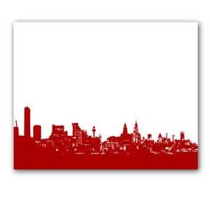 liverpool skyline in red fine art print modern decor wall art