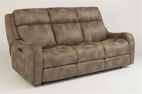 Flexsteel Fabric Power Reclining Sofa With Power Headrests Flexsteel Sofa Recliners