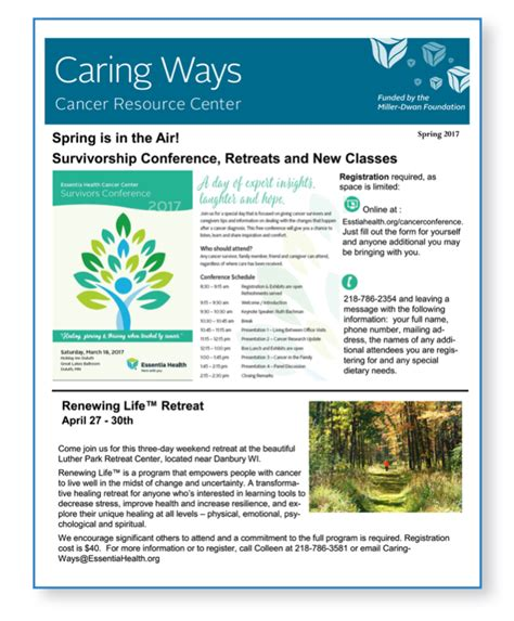 Patient Education Newsletter Essentia Newsletter Spring 2017 Cancerhelp Mobile Friendly Cancer Patient Education