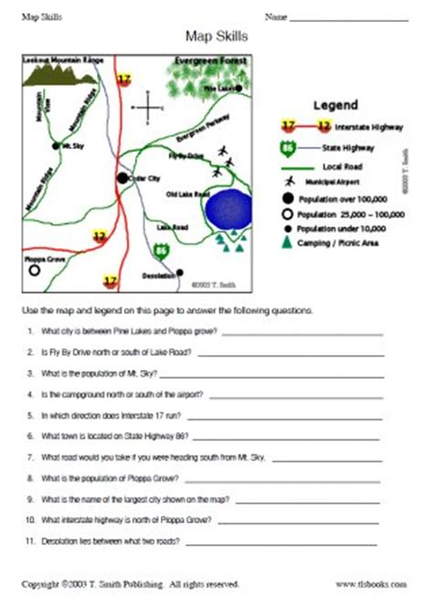 Free Map Skills Worksheets by Map Skills Worksheet 2