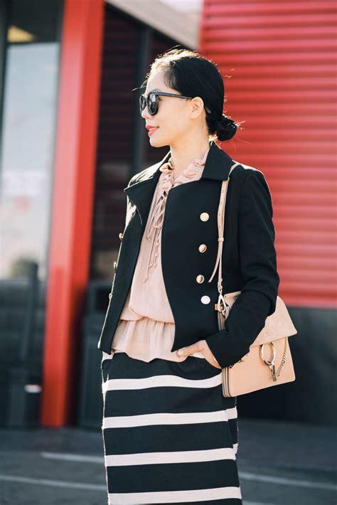 Striped Ruffled Blouse ruffled blouse striped skirt hallie daily