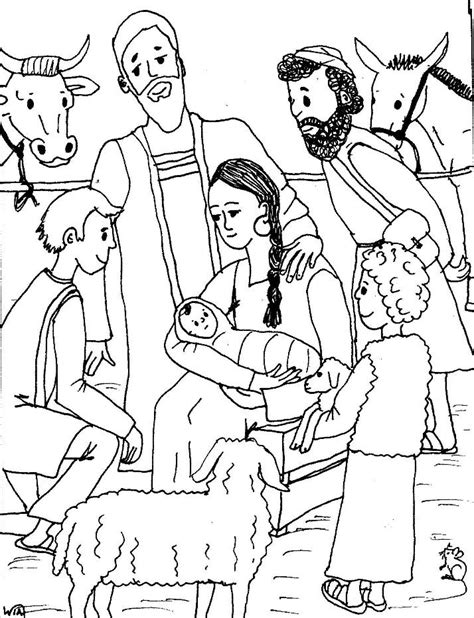 coloring page birth of jesus free jesus birth coloring pages