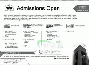 Mba Lums Requirements by Lahore Of Management Sciences Lums Admissions