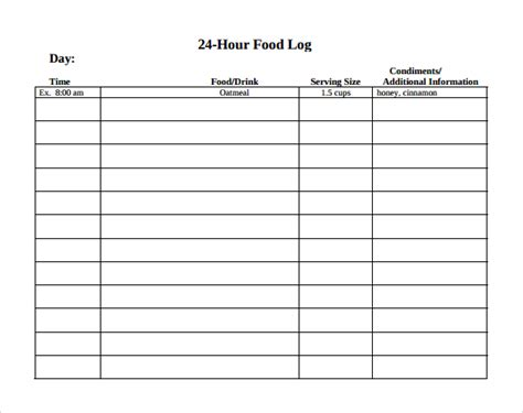 15 Sle Printable Food Log Templates To Download Sle Templates 24 Hour Diet Recall Template
