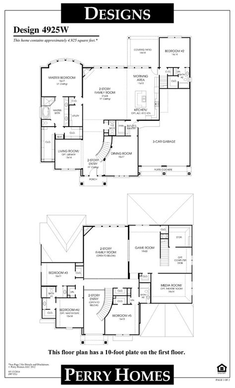 perry home plans perry homes floor plan for 4925w home pinterest