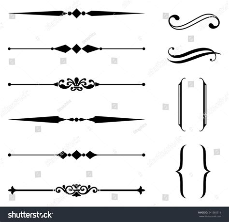 ornament design elements vector set rule line and ornament set set of rule line and ornament
