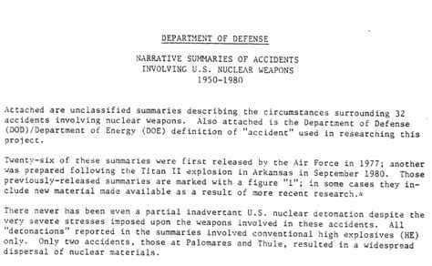 the department of defense list of 32 accidents involving