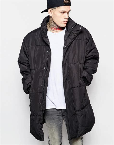 Pull And Anorak Quilted Jacket Black lyst asos oversized quilted parka jacket in black in black for