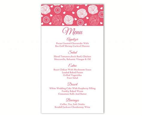 diy wedding menu template wedding menu template diy menu card template editable text