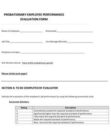 probationary period template 9 employee review forms free sle exle format
