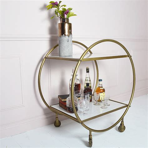marble brass round brass and marble art deco drinks trolley audenza