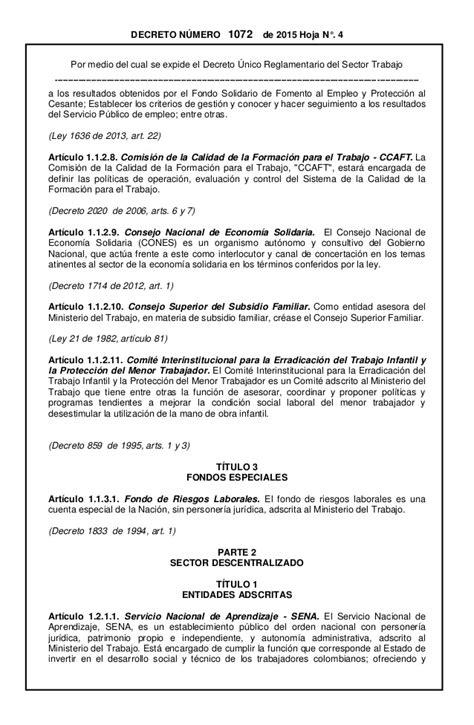 decreto de colegiaturas 2015 decreto 1072 de 2015 250 nico reglamentario del sector trabajo