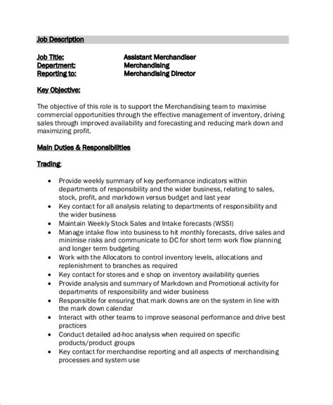 merchandiser job description for resume sle
