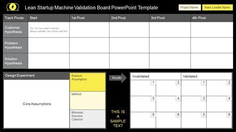 Lean Startup Machine Validation Board Powerpoint Templates Board Powerpoint Template